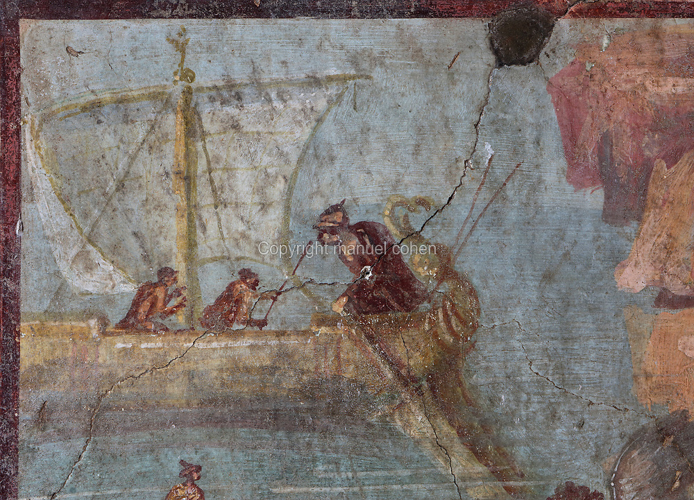Fresco of Theseus in a sailing boat, detail from the scene of Theseus abandoning Ariadne, painted after 62 AD in Pompeiian Fourth Style, in the House of the Vettii, one of the largest houses in Pompeii, in the Parco Archeologico di Pompei, or Archaeological Park of Pompeii, Campania, Italy. Pompeii was a Roman city which was buried in ash after the eruption of Vesuvius in 79 AD. The site is listed as a UNESCO World Heritage Site. Picture by Manuel Cohen