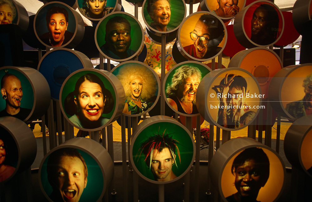 A multi-cultural British population is represented here at an exhibit within the Millennium Dome, a few months after 2000.