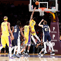 02 October 2017: Los Angeles Lakers forward Kyle Kuzma (0) goes for the reverse layup during the Denver Nuggets 113-107 victory over the LA Lakers, at the Staples Center, Los Angeles, California, USA.
