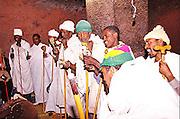Africa, Ethiopia, Lalibela, Interior of Rock Hewn church of Bete Maryam Sunday mass