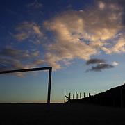 Football posts on Ipanema beach, Rio de Janeiro,  Brazil, during sunset on the 4th July 2010. Photo Tim Clayton....