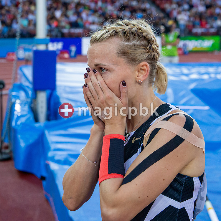 Winner Anzhelika Sidorova of Russia reacts after competing in the Pole Vault Women during the Iaaf Diamond League meeting (Weltklasse Zuerich) at the Letzigrund Stadium in Zurich, Switzerland, Thursday, Sept. 9, 2021. (Photo by Patrick B. Kraemer / MAGICPBK)