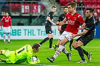 ALKMAAR - 02-02-2016, AZ - HHC, AFAS Stadion, 1-0, HHC keeper Sander Danes, AZ speler Markus Henriksen, HHC speler Thomas Bakker