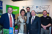 NO FEE PICTURES<br /> 23/1/16 Minister for Tourism Michael Ring and Maureen Ledwith, organiser of the Holiday World Show at the Mid Ireland Tourism stand at the Holiday World Show at the RDS in Dublin. Picture: Arthur Carron