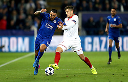Danny Simpson of Leicester City goes past Stevan Jovetic of Sevilla - Mandatory by-line: Robbie Stephenson/JMP - 14/03/2017 - FOOTBALL - King Power Stadium - Leicester, England - Leicester City v Sevilla - UEFA Champions League round of 16, second leg