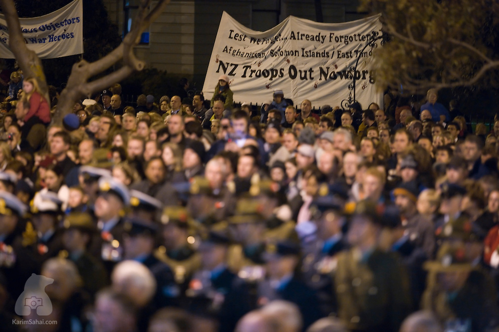 New Zealanders gather on Anzac Day to commemorate the fallen soldiers of the Gallipoli and other large scale conflicts, at the Wellington Cenotaph, on  April 25, 2007. The yearly event occurs in the early morning hours to coincide with the time of the first casualties in the Gallipoli battle, in Turkey. Over the years, Anzac Day has seen attendance numbers rise, as kiwis see the remembrance at the core of national identity.
