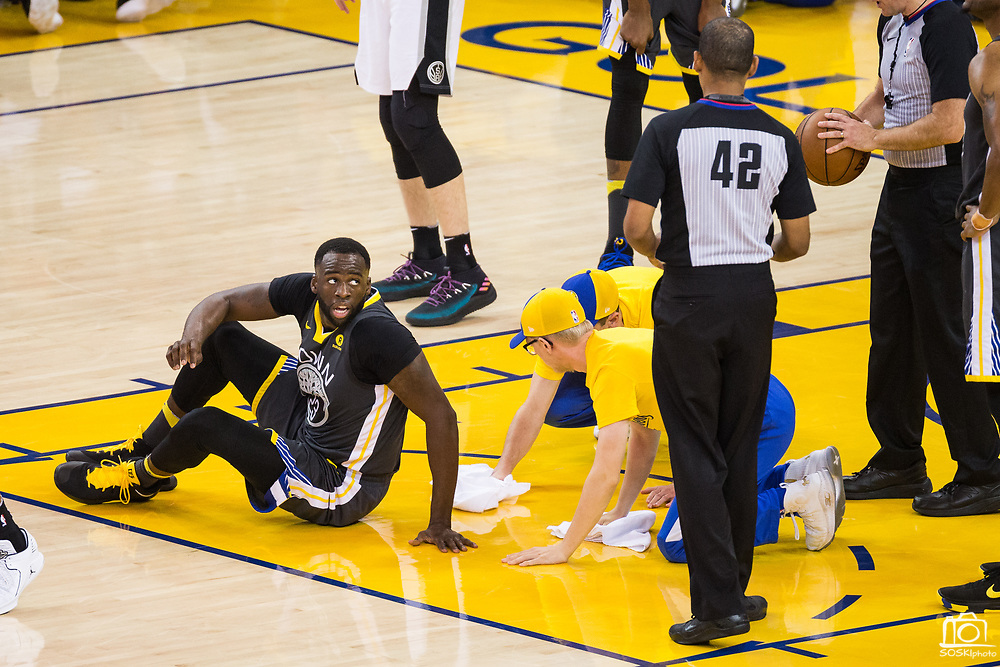 Golden State Warriors forward Draymond Green (23) reacts to a foul called on him during Game 2 of the Western Conference Quarterfinals against the San Antonio Spurs at Oracle Arena in Oakland, Calif., on April 16, 2018. (Stan Olszewski/Special to S.F. Examiner)