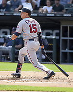 CHICAGO - JUNE 29:  Jason Castro #15 of the Minnesota Twins bats against the Chicago White Sox on June 29, 2019 at Guaranteed Rate Field in Chicago, Illinois.  (Photo by Ron Vesely)  Subject:  Jason Castro