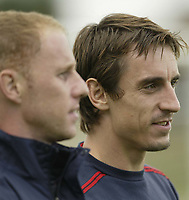 Fotball<br /> Foto: SBI/Digitalsport<br /> NORWAY ONLY<br /> <br /> England training at Carrington MUFC traing complex.<br /> <br /> Gary Neville and Nicky Butt