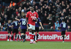 Bristol City's Jay Emmanuel-Thomas cuts a dejected figure as West Ham players celebrate - Photo mandatory by-line: Joe Meredith/JMP - Mobile: 07966 386802 - 25/01/2015 - SPORT - Football - Bristol - Ashton Gate - Bristol City v West Ham United - FA Cup Fourth Round