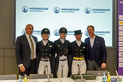 Andreas Politycki (Mitglied des Vorstandes Nürnberger Versicher), WALDMANN Lena (GER), FREESE Isabel (NOR), WULFERDING Kira (GER), RATH Matthias Alexander (Veranstalter)<br /> Frankfurt - Festhallen Reitturnier 2019<br /> Pressekonferenz<br /> NÜRNBERGER BURG-POKAL der Dressurreiter – Finale 2019<br /> St-Georg-Special für 7-9 jährige Pferde<br /> 21. Dezember 2019<br /> © www.sportfotos-lafrentz.de/Stefan Lafrentz
