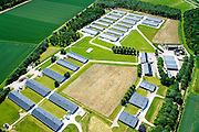 Nederland, Gelderland, Gemeente Overbetuwe, 09-06-2016; Valburg, grootschalige pluimvee fokkerij van internationaal opererend bedrijf  Cobb-Vantress.<br /> Large scale poultry breeding, international company Cobb-Vantress.<br /> luchtfoto (toeslag op standard tarieven);<br /> aerial photo (additional fee required);<br /> copyright foto/photo Siebe Swart