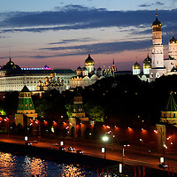 Europe, Russia, Moscow. Dusk at the Kremlin, Moscow.