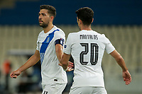 ATHENS, GREECE - OCTOBER 14: Petros Mantalosof Greece and Tasos Bakasetasof Greece who feels disapointed after missing a penalty kick during the UEFA Nations League group stage match between Greece and Kosovo at OACA Spyros Louis on October 14, 2020 in Athens, Greece. (Photo by MB Media)