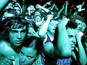 """CS. 12. Benicássim, 08/08/2005. Una multitud de """"fibers"""" disfutan de los conciertos anoche en el Festival Internacional de Música Independiente de Benicássim (FIB) que finalizo tras tres jornadas de música con cerca de 35.000 espectadores de media desde el pasado viernes. EFE/Kai Försterling."""