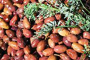 Israel, Haifa, Wadi Nisnas, A pile of black olives