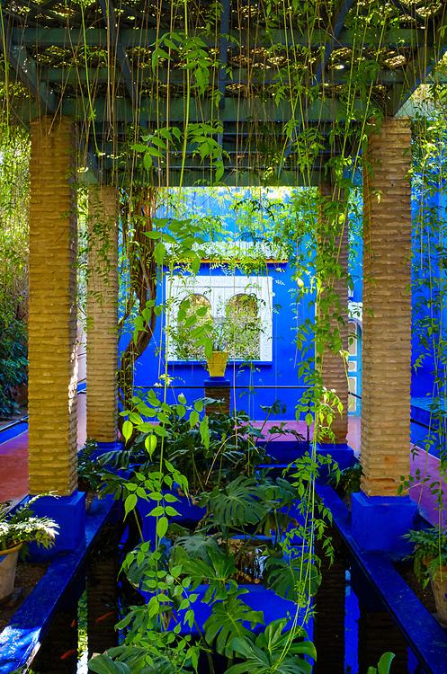 MARRAKESH, MOROCCO - CIRCA APRIL 2018: Gallery at the Jardin Majorelle in Marrakech
