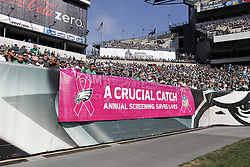 An NFL Tackling Breast Cancer banner is seen during the NFL game between the Detroit Lions and the Philadelphia Eagles on Sunday, October 14th 2012 in Philadelphia. The Lions won 26-23 in Overtime. (Photo by Brian Garfinkel)