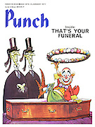 Punch front cover 20 December 1971 (A clown coming out of a coffin with two undertakers looking on)