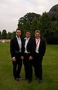 David Furnish, Matt James and Elton John, Elton John's White Tie and Tiara Ball. Windsor, 28 June 2003. © Copyright Photograph by Dafydd Jones 66 Stockwell Park Rd. London SW9 0DA Tel 020 7733 0108 www.dafjones.com