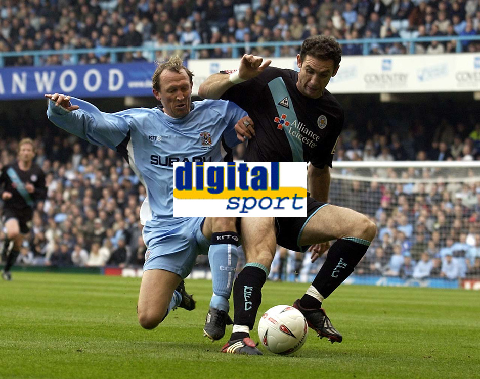 Fotball<br /> England<br /> 2004/2005<br /> 16.10.2004<br /> Foto: SBI/Digitalsport<br /> NORWAY ONLY<br /> <br /> Coventry City v Leicester City <br /> Coca Cola Championship.<br /> <br /> Martin Keown of Leicester holds off Coventry's Andy Morrell