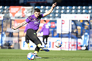 Norwich City forward Jordan Hugill  (9)  takes a shot in the warm up during the EFL Sky Bet Championship match between Wycombe Wanderers and Norwich City at Adams Park, High Wycombe, England on 28 February 2021.