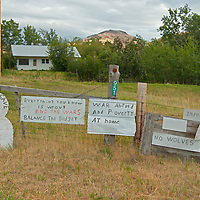 Ultra conservative political signs in the Boulder River Valley near Big Timber, Montana.