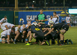 January 11, 2019 - Sugar Land, TX, U.S. - SUGAR LAND, TX - JANUARY 11:  Referee Scott Green instructs the scrum during the pre-season exhibition rugby match between the Austin Elite and Houston SaberCats on January 11, 2019 at Constellation Field in Sugar Land, Texas.  (Photo by Leslie Plaza Johnson/Icon Sportswire) (Credit Image: © Leslie Plaza Johnson/Icon SMI via ZUMA Press)