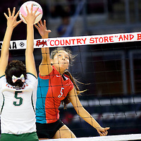 Shiprock Chieftain (5) Tanisha Begay spikes over Wingate Bear Keziah Pine (5) during the state volleyball tournament at the Santa Ana Star Center in Rio Rancho Thursday.