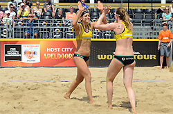 16-07-2014 NED: FIVB Grand Slam Beach Volleybal, Apeldoorn<br /> Poule fase groep G vrouwen - Laura Ludwig and Julia Sude GER