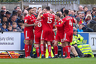Accrington Stanley midfielder Jordan Clark (7) celebrating after scoring goal to make it 1-1 during the EFL Sky Bet League 1 match between AFC Wimbledon and Accrington Stanley at the Cherry Red Records Stadium, Kingston, England on 6 April 2019.