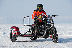 Vitaliy Timoshenko on his ice racer Harley-Davidson Sportster with sidecar at the Baikal Mile Ice Speed Festival. Maksimiha, Siberia, Russia. Saturday, February 29, 2020. Photography ©2020 Michael Lichter.