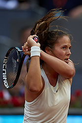 May 9, 2018 - Madrid, Madrid, Spain - Daria Kasatkina of Russia in action in her match against Garbine Muguruza of Spain during day five of the Mutua Madrid Open tennis tournament at the Caja Magica on May 9, 2018 in Madrid, Spa  (Credit Image: © David Aliaga/NurPhoto via ZUMA Press)