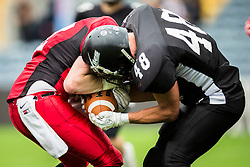 East Kilbride Pirates and Kent Exiles wrestle for the ball - Mandatory by-line: Jason Brown/JMP - 27/08/2016 - AMERICAN FOOTBALL - Sixways Stadium - Worcester, England - Kent Exiles v East Kilbride Pirates - BAFA Britbowl Finals Day