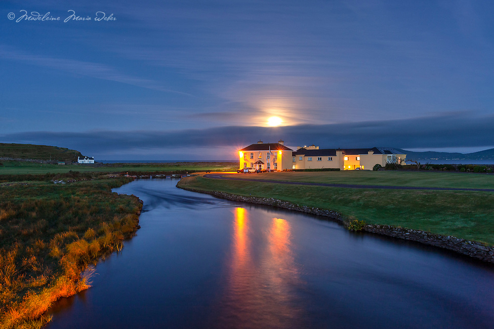 Full Moon setting behind Waterville House   Waterville Golf Links   Limited Edition of 25<br /> Limited Edition Print of 25<br /> <br /> ********<br /> Sign up for new photograph releases of Waterville Links here<br /> <br /> https://tinyurl.com/WatervilleGolfLinksReleases