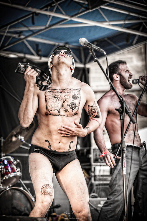 Captain Stabbin (tamborine) with Jacques St.Clarie (vocals) of Vital Stats performing at Hollystock 15 in Mount Holly, NJ.