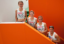 Anja Puc, Dasa Bajec, Liona Rebernik and Urska Klemen of Team Slovenia after  the 4x400m Womens Relay Heats during day five of the 20th European Athletics Championships at the Olympic Stadium on July 31, 2010 in Barcelona, Spain.  (Photo by Vid Ponikvar / Sportida)
