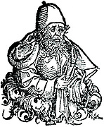 Hippocrates of Cos  (born c460 BC) Ancient Greek physician.  Woodcut from Hartmann Schedel 'Liber chronicarum mundi' (Nuremberg Chronicle), Nuremberg, 1493.