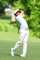 May 3, 2019 - Charlotte, NC, U.S. - CHARLOTTE, NC - MAY 03: Jason Day plays his shot from the fairway on the 11th hole in round two of the Wells Fargo Championship on May 03, 2019 at Quail Hollow Club in Charlotte,NC. (Photo by Dannie Walls/Icon Sportswire) (Credit Image: © Dannie Walls/Icon SMI via ZUMA Press)
