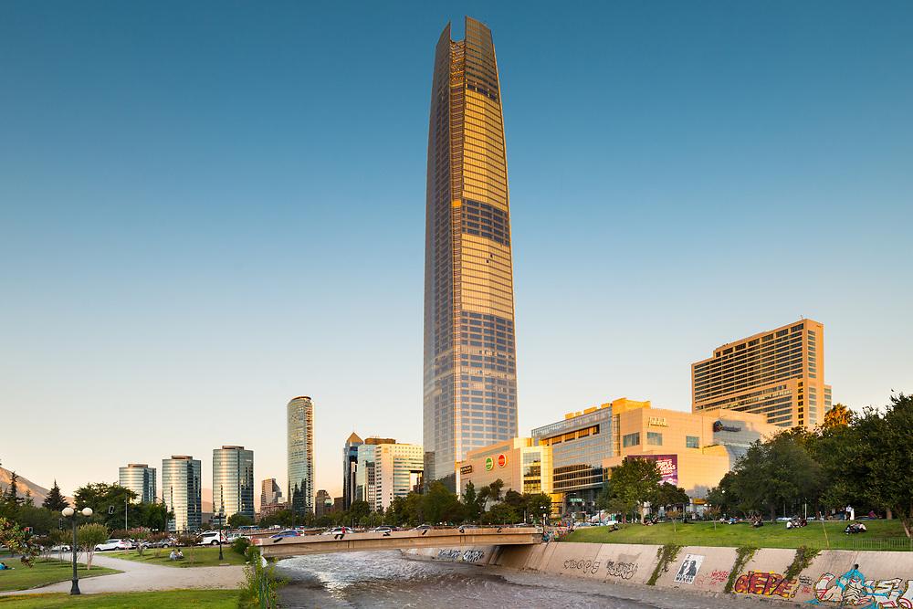 Santiago, Region Metropolitana, Chile - Skyline of financial district of Santiago with Costanera skyscraper and modern office buildings.