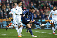 Son Heung-Min of Tottenham Hotspur takes a shot at goal. The Emirates FA Cup, quarter-final match, Swansea city v Tottenham Hotspur at the Liberty Stadium in Swansea, South Wales on Saturday 17th March 2018.<br /> pic by  Andrew Orchard, Andrew Orchard sports photography.