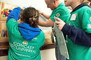 Comcast employees, community members, and school students and staff volunteers clean up and beautify the Sarah J Rawsom Elementary School in Hartford, CT as part of Comcast Cares Day 2017.