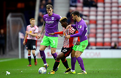 Didier Ndong of Sunderland takes on Marlon Pack of Bristol City and Aden Flint of Bristol City - Mandatory by-line: Robbie Stephenson/JMP - 28/10/2017 - FOOTBALL - Stadium of Light - Sunderland, England - Sunderland v Bristol City - Sky Bet Championship