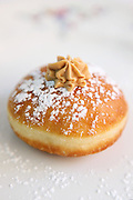 Sufganiyah (Sufganyot) a traditional Jewish Doughnut eaten during Hanukkah with Dulce de leche cream