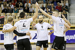 Players of Calcit celebrate during volleyball match between OK ACH Volley Ljubljana and Calcit Volleyball Kamnik in Final of 1. DOL Slovenian Men National Championship 2016/17, on April13, 2017 in Arena Tivoli, Ljubljana, Slovenia. Photo by Matic Klansek Velej / Sportida
