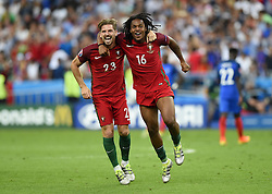 Renato Sanches of Portugal celebrates Winning the Uefa European Championship  with Adrien Silva of Portugal on the final whistle  - Mandatory by-line: Joe Meredith/JMP - 10/07/2016 - FOOTBALL - Stade de France - Saint-Denis, France - Portugal v France - UEFA European Championship Final