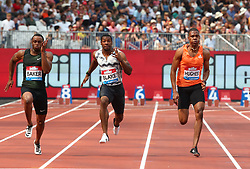 July 21, 2018 - London, United Kingdom - L-R Ronnie Baker of USA Yohan Blake of Jamaica Zharnel Hughes of Great Britain and Northern Ireland compete in the 100m Men Final.during the Muller Anniversary Games IAAF Diamond League Day One at The London Stadium on July 21, 2018 in London, England. (Credit Image: © Action Foto Sport/NurPhoto via ZUMA Press)