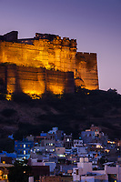 JODHPUR, INDIA - CIRCA NOVEMBER 2016:  Mehrangarh Fort and Jodphur at night