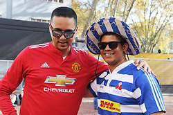 070418 Emirates Airlines Park, Ellis Park, Johannesburg, South Africa. Super Rugby. Lions vs Stormers. Stormers fans Russel Gordon and Wurshall Esterhuizen from Cape Town. <br />Picture: Karen Sandison/African News Agency (ANA)