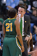 April 4, 2016; Indianapolis, Ind.; Ryan McCarthy talks to Keiahnna Engel during a timeout in the NCAA Division II Women's Basketball National Championship game at Bankers Life Fieldhouse between UAA and Lubbock Christian. The Seawolves lost to the Lady Chaps 78-73.
